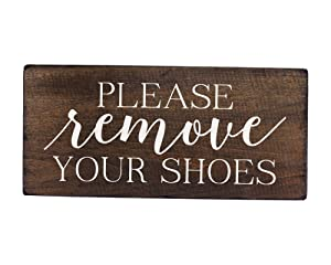 Elegant Signs Please Remove Your Shoes Wood Sign - Made in USA - 6 x 12 inch - Thick Rustic Board