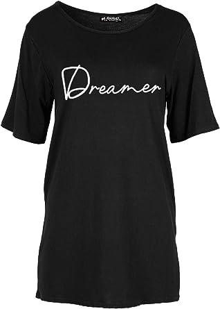 Womens Ladies Dreamer Printed Baggy Loose Short Sleeve Oversized T Shirt Top