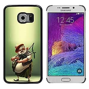 Caucho caso de Shell duro de la cubierta de accesorios de protección BY RAYDREAMMM - Samsung Galaxy S6 EDGE SM-G925 - Scottish Bagpipe Player Kilt Man