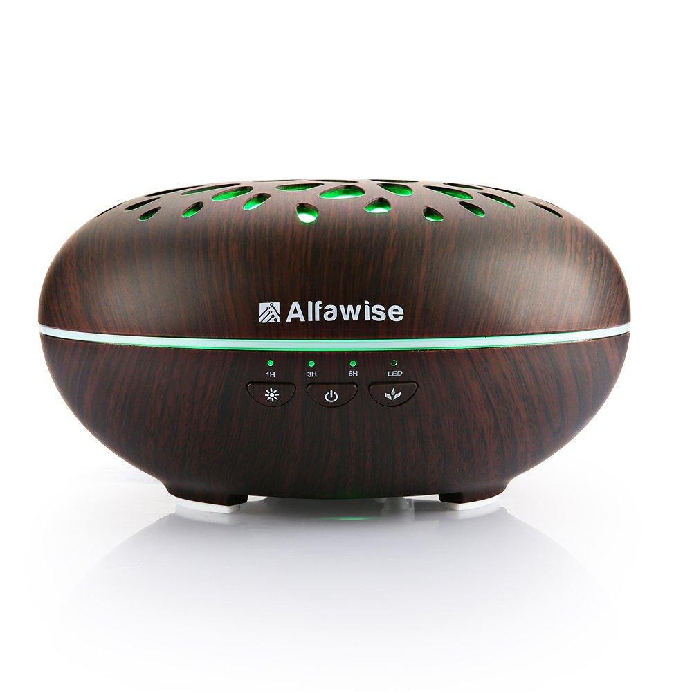 Alfawise Wifi Essential Oil Diffuser,Compatible with Alexa, 400ml Wood Grain Ultrasonic Aromatherapy Humidifier for Office Home Bedroom Yoga Spa Salon, Cool Adjustable Mist, Waterless Auto Shut-off