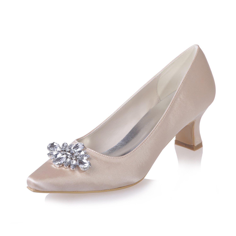 Qingchunhuangtang@ Hohe Schuhe - der Klasse Frauen Satin flachen Mund dick mit einzelnen Schuhe TIPP Diamanten high-Heeled Arbeit Schuhe Schuhe Hochzeit Party Mode Schuhe