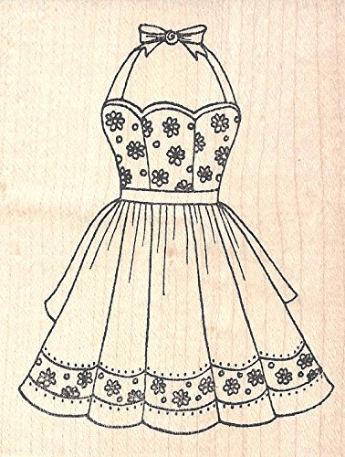 Daisy Flower Apron Red Rubber Stamp Wood Mounted by Pink Ink