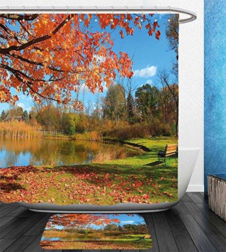 Beshowereb Bath Suit: Showercurtain Bathrug Bathtowel Handtowel Landscape Autumn Scenery in Michigan USA Scenic View with Trees Pond and Clear Sky Orange Blue - Macys In Michigan