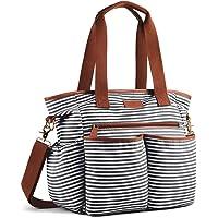 Plambag Striped Nappy Tote Weekender Bag, Baby Nappy Shoulder Bag w/Changing Pad (Black & White)