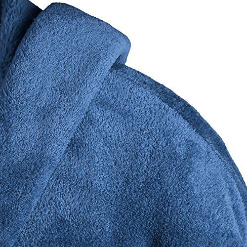 Gräfenstayn Damen & Herren Kuschelfleece Bademantel mit Kapuze Größe S-XXXL verschiedene Farben mit Öko-Tex Standard 100 Flanell Fleece Blau z1eWffV2