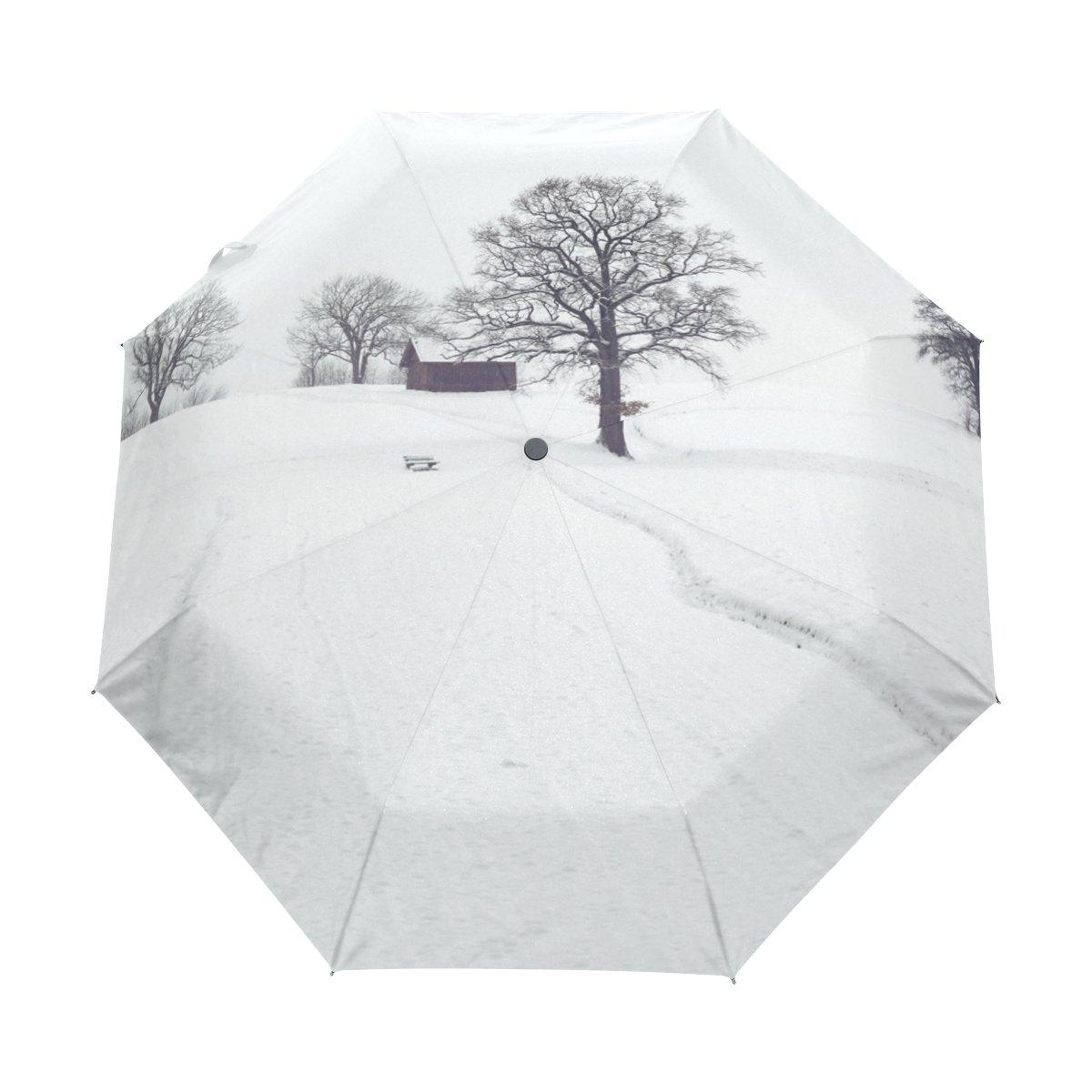 太陽と雨コンパクトトラベル傘防風UV保護軽量ポータブルアウトドア折りたたみゴルフ傘Auto Open Close Folding Umbrellas外部雪ツリー   B07B2QDJG3