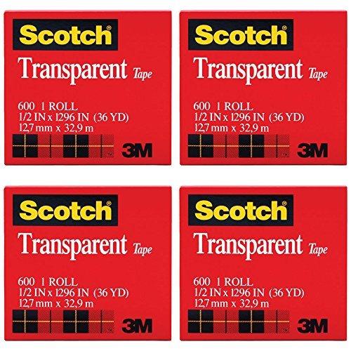 Scotch Transparent Film Tape - Scotch Premium Transparent Film Tape, Clear, 1/2 Inch x 36 Yards (600), 4 Packs