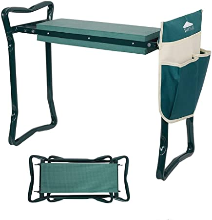 2 in 1 Foldable Garden Kneeler Seat Bench Ideal Gardening Gift Portable Stool with Thicken /& Widen Soft EVA Kneeling Pad and Pouches