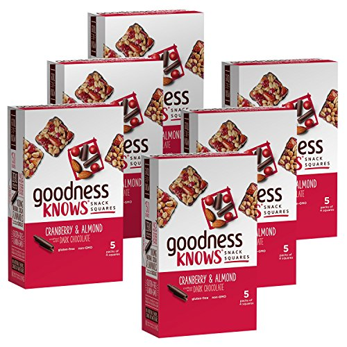 (goodnessKNOWS Cranberry, Almond & Dark Chocolate Gluten Free Snacks Square Bars 5-Count Box (Pack of 6) )