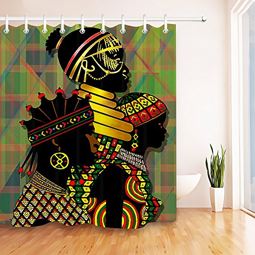 LB Black Women in Traditional Costume Makeup Shower Curtain Set for Bathrooms, African Tribal Art Print Curtain, 70x70 Fabric Shower Curtain Waterproof Mold (Egyptian Cat God Costume)