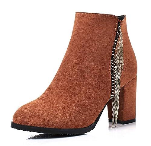 Easemax Femme Populaire Talon Bloc Chaussure Montante Bottines avec Zip Noir  32 EU e9104599fb82