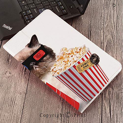 Case for Samsung Galaxy T820 T825 Slim Folding Stand Cover PU Tab S3 9.7,Movie Theater Decor,Cat with Popcorn and Drink Watching Movie Glasses Entertainment Cinema Decorative,Multicolor