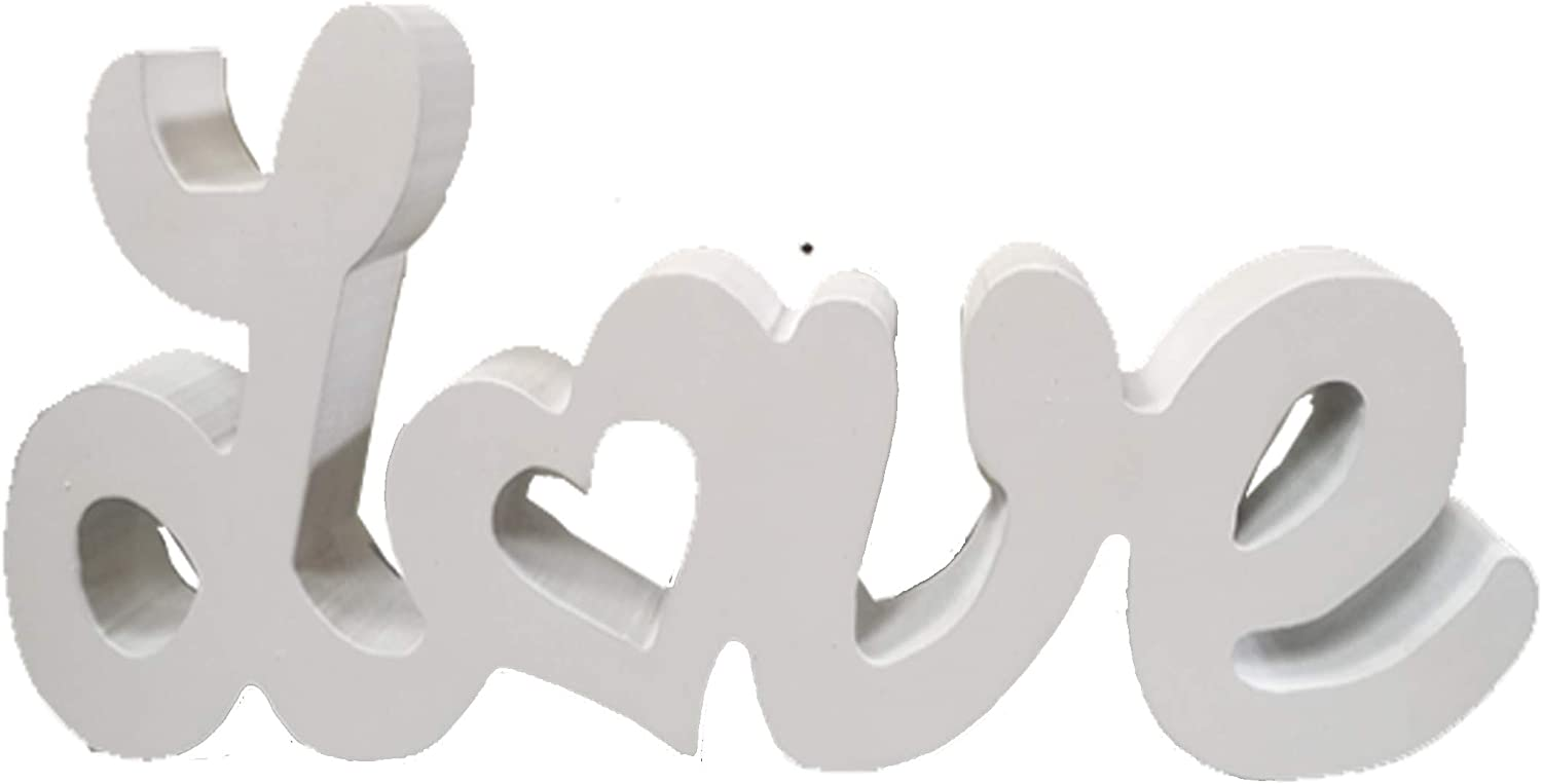 TGHOMECRAFT. Word Love with Heart Sign,White Color,Country Primitive Stand Rustic Wood Love Sign Tabletop/Shelf/Home Wall/Office Decoration Art For Wedding,Party Gifts,Valentine's Day