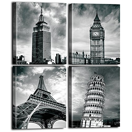 - Black and White Architectures Photos Wall Art - New York Empire State Building UK London Big Ben Eiffel Tower Pictures Italy Leaning Tower of Pisa National Landmark  Paintings Home Office Cafe Decor