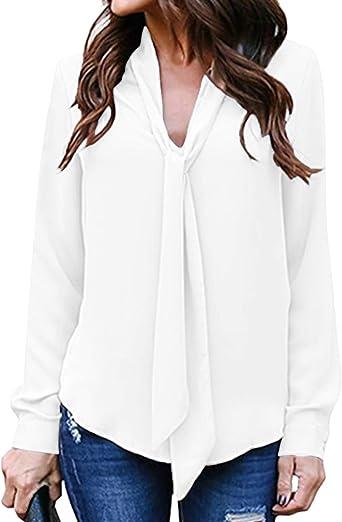 Auxo Camisas Mujer Sexy Blusas Cuello V con Corbata Mangas ...