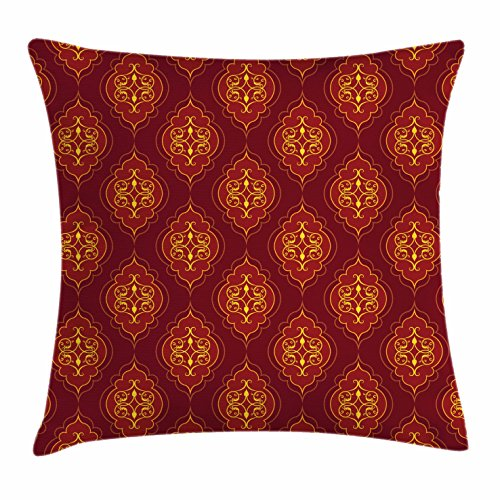 Swirled Accents (Yellow And Red Throw Pillow Cushion Cover by Lunarable, Damask Inspired Arrangement Antique Ottoman Pattern Swirled Lines, Decorative Square Accent Pillow Case, 20 X 20 Inches, Burgundy Ruby Yellow)