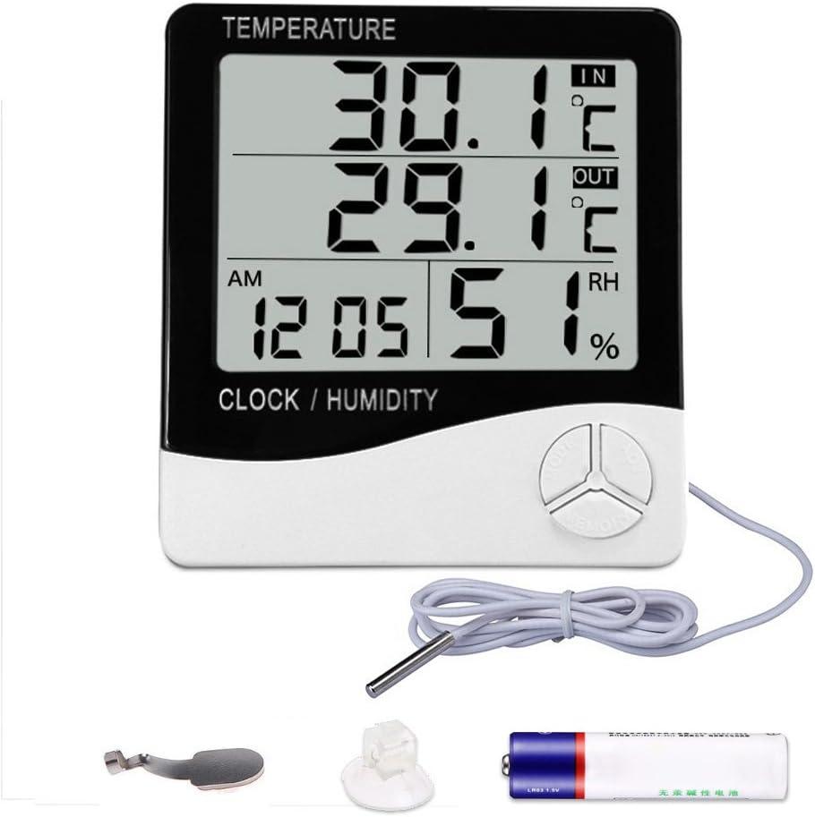 Mengshen Termómetro Digital de higrómetro, Monitor de Humedad de Temperatura Interior y Exterior, Home Office tempómetro de indicador de Humedad - Pantalla LCD, batería incluida - TH03