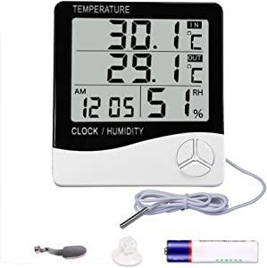 Mengshen Digital Hygrometer Thermometer, Indoor & Outdoor Temperature Monitor, Home Office Temp Humidity Gauge Meter - LCD Display, Battery Included - TH03