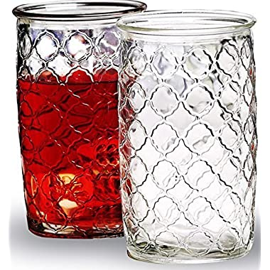 ▶ Circleware Garden Gate, Set of 4 All Purpose Clear Glass Drinking Glasses Set, 16 Ounce, Limited Edition Glassware Drinkware Drink Cups