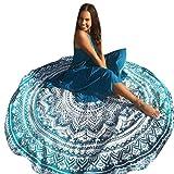 Datework Round Beach Pool Towel Blanket Table Cloth Yoga Mat (Mint Green)