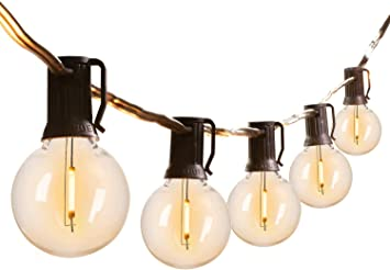 Led G40 Outdoor String Lights 50Feet Patio Lights with 52 Led Shatterproof Bulbs(2 Spare), Weatherproof Commercial Hanging Lights Backyard Bistro Deck Party Decor, E12 Socket, 2200K, Black