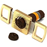 Dayincar Grip Pocket Stainless Steel Guillotine V Cut Cigar Cutter Scissors Guillotine Double Cut Blades Tool Gift (Gold)
