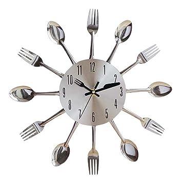 Giplar 38 cm Creativo Reloj de Pared Cocina Plata Cubiertos Reloj de Pared Redondo Cuchara y