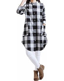 8ed8e5448a Zanzea Femme Chemise à Carreaux Tunique Manches Longues en Coton Plaid  Shirt Blouse Haut Tops