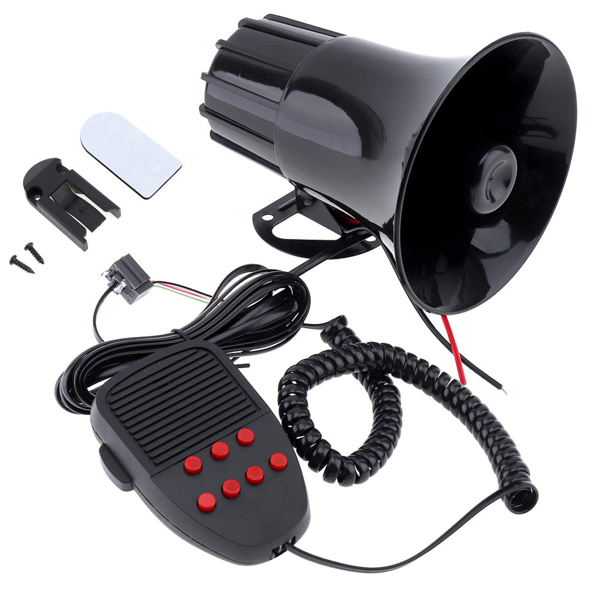 Monland 100 Watt 12 V 7 Ton Auto LKW Lautsprecher Alarm Alarm Polizei Feuer Sirene Horn Lauter Ton 105Db Mit Mikrofon Mikrofon