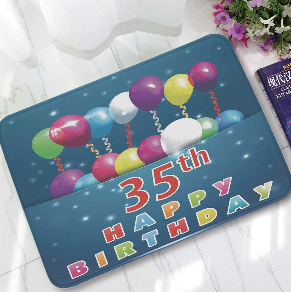 YOLIYANA Polyester Carpet,35th Birthday Decorations,for Meeting Room Dining Room,15.75''x23.62'',Surprise Party for Thirty Five Year