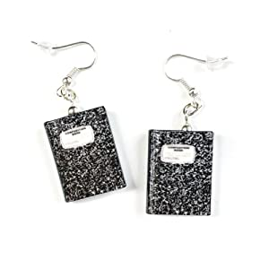 Composition Notebook Journal Clay Mini Book Stainless Steel Hypoallergenic Dangle Hook Drop Earrings