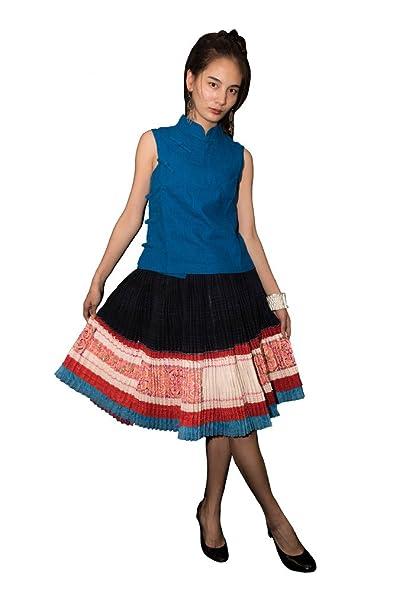 Interact China Falda Plisada Bordada Tribal Hmong Vestido Vintage Algodón 100% Artesanía #110