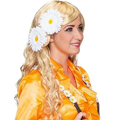 Marguerites haarblumen hippie ansteckblumen lot de 2 années 1970 blumenanstecker pâquerettes thème flower power fleurs fleur coiffe clips accessoires cHEVEUX karnevalskostüme accessoires