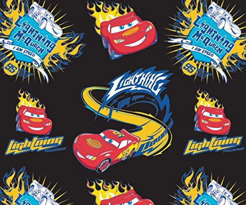 Disney Cars I Am Speed in Black Fabric Sold by The Yard ()