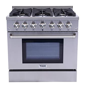 Thor Kitchen Professional 36'' HRG3618U 6 Burners Gas Range