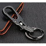 ZooooM ダブル リング キーホルダー キーリング カラビナ フック ファッション デザイン メンズ 男性 車 鍵 キー ( ブラック ) ZM-KEY639-bk