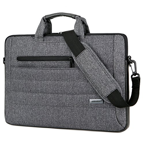 BRINCH 15.6 Inch Laptop Shoulder Bag,Multi-functional Slim Portable Laptop Carrying Messenger Bag Sleeve Case Briefcase with Strap for 15 - 15.6 Inch Laptop Macbook Notebook Tablet Computer,Dark Grey (Leather Notebook Case Model)