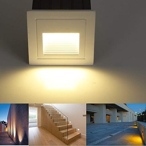 SUBOSI - Luz LED para escaleras, Aluminio, 230 V, 3 W, Cristal, lámpara de Pared, luz de Escalera, con Caja empotrada, luz de Escalera, lámpara de Pared, IP65, Resistente al Agua blanco