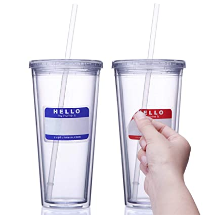 314dfc0ed23 Amazon.com: Cupture Classic Insulated Double Wall Tumbler Cup with Lid,  Reusable Straw & Hello Name Tags - 24 oz, 2 Pack (clear): Kitchen & Dining