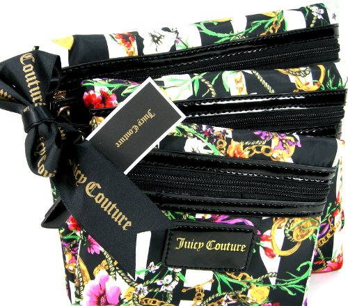 Juicy Couture Logo Make-Up Flat Cosmetics Bags Set Lot 3 Piece Multi Floral (Juicy Couture Makeup Bags)
