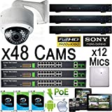 USG THREE Camera Security Systems : HD 2MP 1080P PoE IP CCTV : 3x 32 Channel NVR + 48x 1080P Sony Chip 2.8-12mm Dome Camera + 3x 18 PoE Network Switch + 3x 4TB HDD + 12x Mics : Remote Phone Viewing