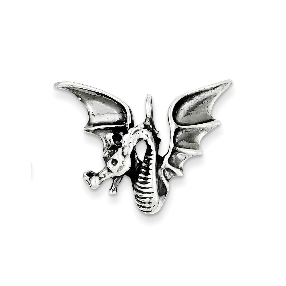 Sterling Silver Antiqued Dragon Pendant 0.79 in x 1.1 in