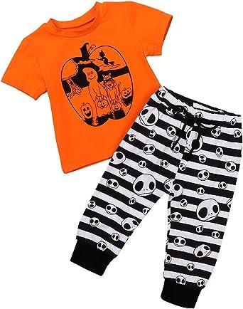 Newborn Infant Clothes Pumpkin T-shirt Tops Pants Leggings Set Halloween Clothes