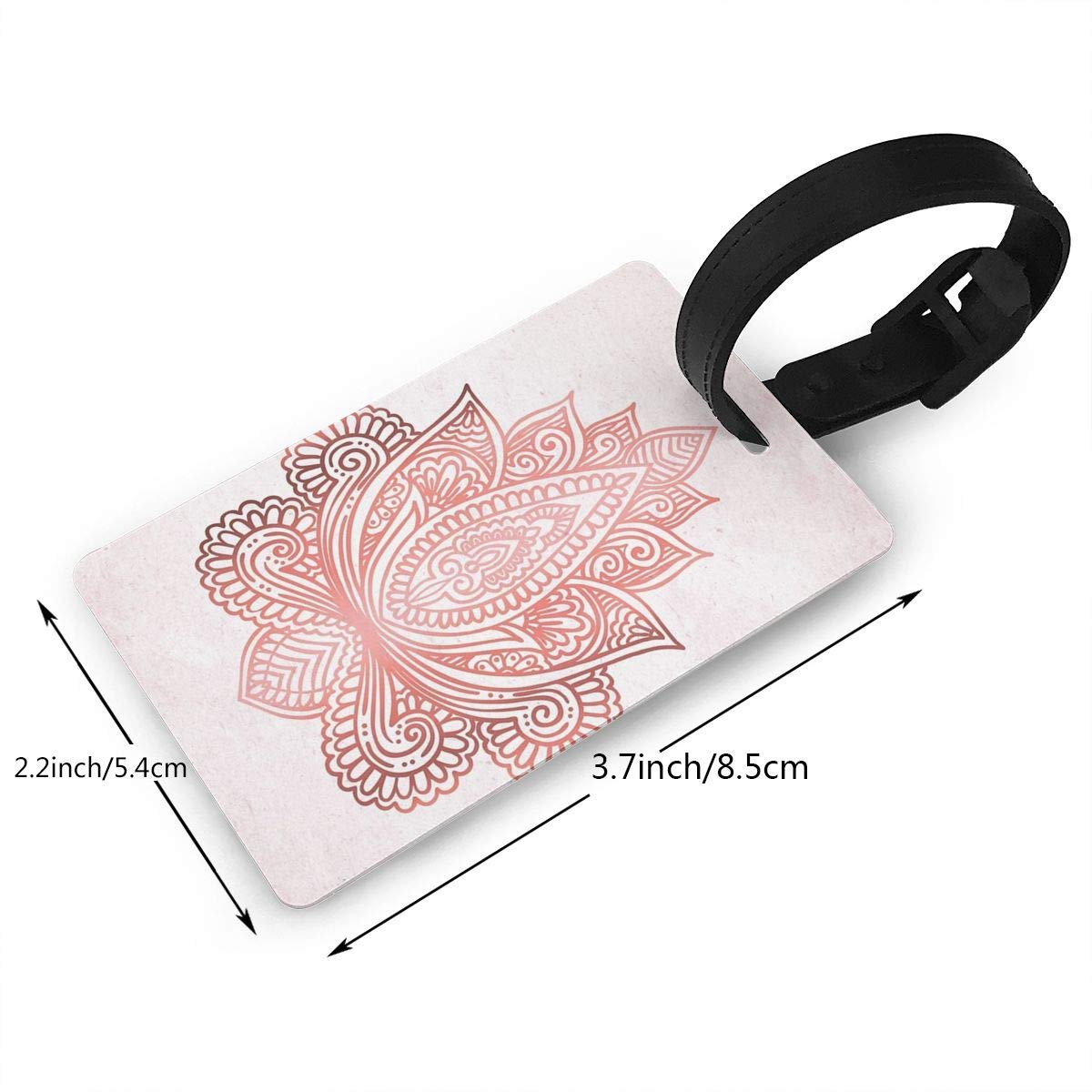 Rose Gold Lotus Luggage Tags Suitcase Labels Bag Travel Accessories Set of 2