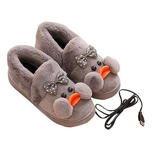 junjunli - Zapatillas de Felpa con calefacción por USB, para ...