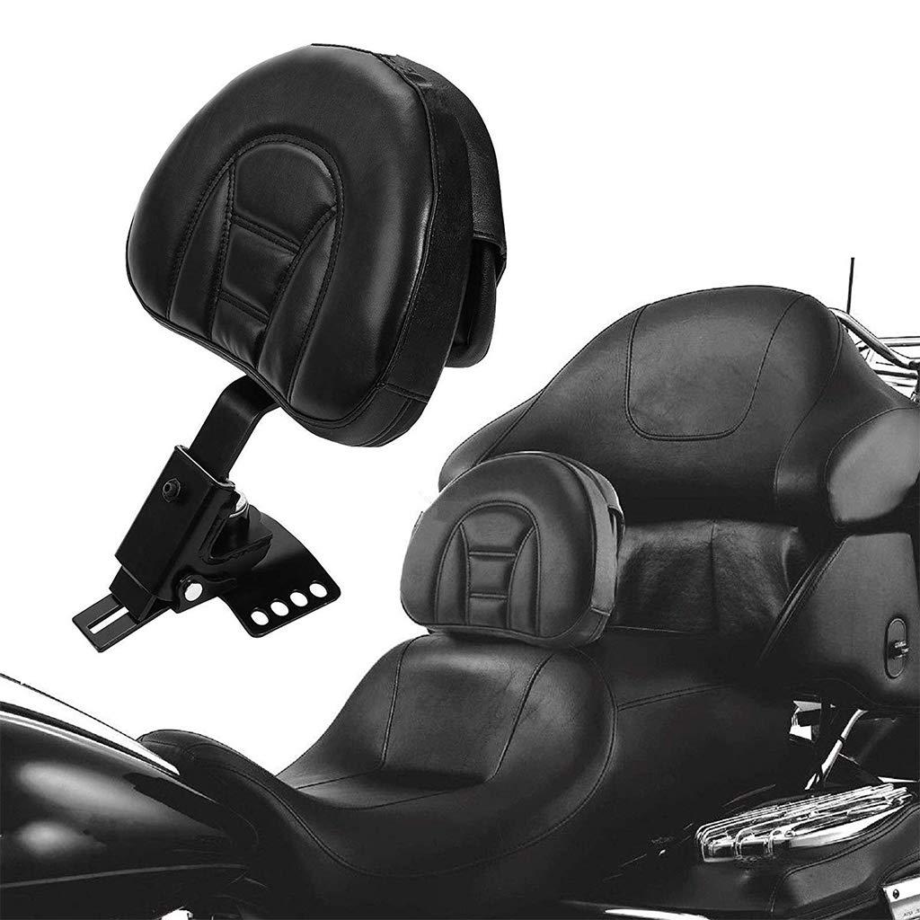 Adjustable Detachable Plug-In Driver Rider Backrest Sissy Bar Back Rest Mount Kit Stripe Rivet Pad Pocket For Harley Touring FLH FLT Electra Road Street Glide Road King 1997-2017 Black