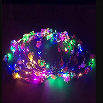 New Fashion New Novelty Led Flashing Flower Headband Hair Ornament Hairband Glowing Light Floral Wreath Children Girls Toys Christmas Party Apparel Accessories