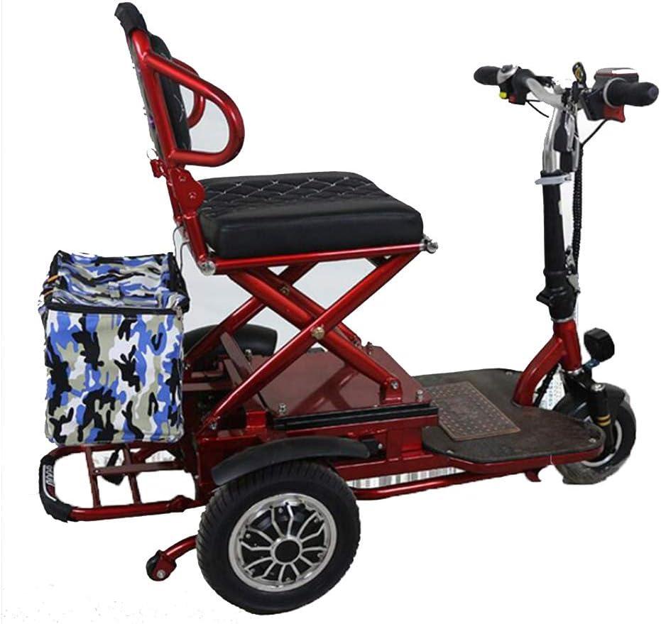 YLee Triciclo eléctrico Plegable Adecuado para Ancianos/discapacitados Scooter móvil de Ocio al Aire Libre 48v20aH batería de Litio Puede Conducir 50KM / Carga 120KG