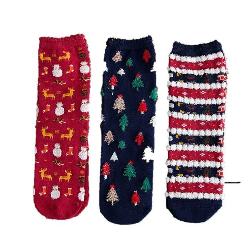 OverDose Ropa Navidad Mejor Venta Calcetines Mujer AlgodóN Lindo Impreso Casual Calcetines Multi-Color Mujer Invierno 3 Pares (Estilo 1): Amazon.es: Ropa y ...