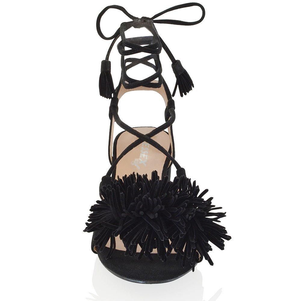 cbe6989362788 Amazon.com | ESSEX GLAM Womens Block Heel Black Faux Suede tie up ...
